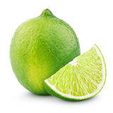 Citrus lime fruit with slice  on white. Background with clipping path Stock Photos