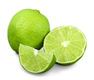 Citrus lime fruit  on white background. Fresh fruit green color group white background Royalty Free Stock Images
