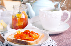Citrus marmalade on bread Royalty Free Stock Photography