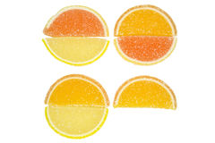 Citrus. Marmalade in three circles and one slice on isolated background Stock Photography