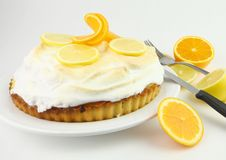 Citrus Meringue Pie. On White Plate Royalty Free Stock Image