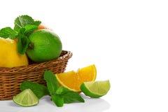 Citrus och mintkaramell i en korg royaltyfria bilder
