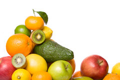 Citrus and other fruit isolated on white Royalty Free Stock Photos