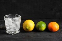 Citrus på en svart bakgrund-tangerin, citron, limefrukt royaltyfria foton