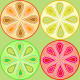 Citrus paisley seamless pattern Stock Photos