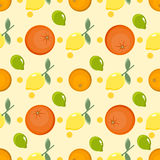 Citrus pattern. Fruit background. Summer bright background with lemon and orange. Stock Images