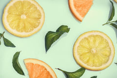 Citrus pattern on retro mint background Royalty Free Stock Photography