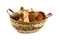 Citrus potpourri in wicker basket. A colorful wicker basket filled with citrus potpourri against a white background royalty free stock photo
