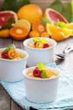 Citrus pudding in smal ramekins Royalty Free Stock Images