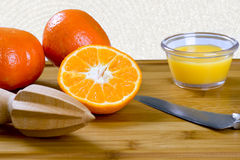 Citrus reamer and tangerines Royalty Free Stock Image