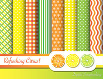 Citrus scrapbooking. Citrus fruit digital scrapbooking paper swatches in with ribbon and fruit slices vector illustration