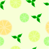 Citrus. A seamless background with slices of lemon, lime and orange, accompanied by mint leaves stock illustration