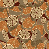 Citrus seamless tile. Seamless editable  tile of brown citrus fruit Royalty Free Stock Photos