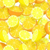 Citrus seamless tile. Seamless editable vector tile of lemons and oranges Stock Photos