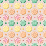 Citrus slices seamless vector pattern with colorful dots vector illustration