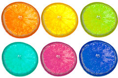 Citrus slice colorful pattern. Colorful fruit slices isolated on white background Royalty Free Stock Images