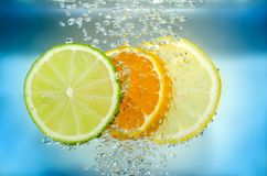 Citrus slice in water Stock Images