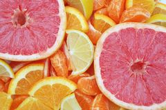 Citrus Slices. Background closeup of bright Orange, Lemon, and Grapefruit Slices Royalty Free Stock Images