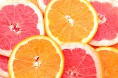 Citrus slices background. Orange and grapefruit Stock Photo
