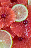 Citrus slices background - grapefruit and lime Royalty Free Stock Photos