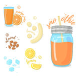 Citrus Smoothies of orange, nuts and a banana for a healthy diet. Cocktail in a glass jar. Cocktail for energy and diets Stock Photography