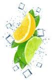 Citrus splash water Royalty Free Stock Photography