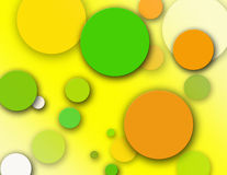 Citrus Splattered Polka Dots. Citrus colored spring polka dots scattered Stock Photos