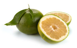 Citrus sweety fruit with leaves Stock Photo