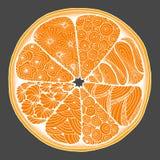 citrus una naranja en el estilo del zentangle ilustración del vector
