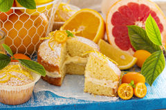 Citrus Victoria Sponge Cake with Lemon Curd Royalty Free Stock Image