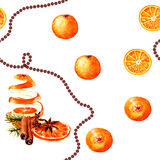 Citrus watercolor new year seamless pattern. With oranges Stock Illustration