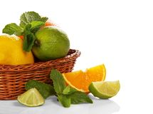 Citrus in wicker basket Royalty Free Stock Photo