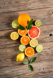Citrus on wood. Royalty Free Stock Photos