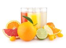 Citrusa fruktsafter Fotografering för Bildbyråer