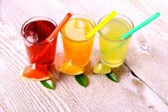 Citrusa fruktsafter i exponeringsglas från grapefrukten, apelsiner, limefrukt royaltyfria foton