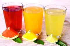 Citrusa fruktsafter i exponeringsglas - grapefrukt, apelsiner och limefrukt royaltyfri foto