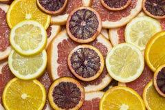 Citrusa mogna saftiga skivor för bakgrund av den orange citronen Royaltyfri Foto