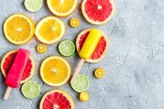 Citrusa skivor med fruktisglassar på åtlöje för bästa sikt för tabellbakgrund upp Fotografering för Bildbyråer