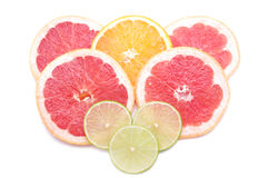 Citrusa skivor - orange, limefrukt, grapefrukt Royaltyfri Foto