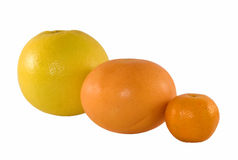 Citruses. (grapefruit, orange, mandarin) isolated Royalty Free Stock Photo