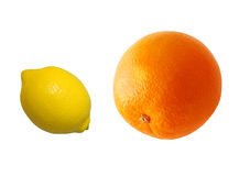 Citruses. Orange and lemon isolated on white Stock Images