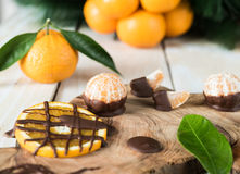 Citruses with chocolate Stock Images