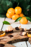 Citruses with chocolate Stock Image