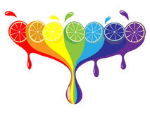 Citruses. Rainbow from citruses of different colors stock illustration