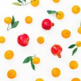 Citrusfrukt och röd granatrött som isoleras på vit bakgrund Lekmanna- lägenhet Top beskådar arkivfoto