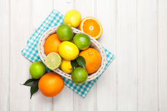 Citrusfrukter i korg Apelsiner, limefrukter och citroner Arkivfoton