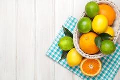 Citrusfrukter i korg Apelsiner, limefrukter och citroner Royaltyfria Foton