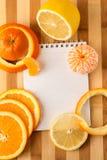 Citrusvrucht met lege kookboek dichte omhooggaand Royalty-vrije Stock Foto
