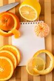 Citrusvrucht met lege kookboek dichte omhooggaand Stock Foto
