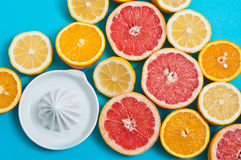 Citrusvruchten en een pers op de lijst Stock Fotografie